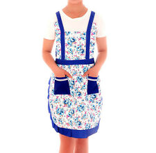 Vintage Style Country Roses Micro Peach Pockets Pinafore Apron with Lining Blue