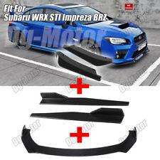 Front Rear Bumper Lip Splitter Spoiler + Side Skirt Fit For Subaru WRX STI BRZ