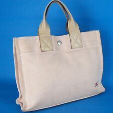 Auth Burberry Pink Canvas  & Beige Leather Unisex Small Hand Bag Handbag Purse