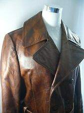 Women's LAKELAND Size 42/14  Wine Brown Belted Button Leather Coat L22