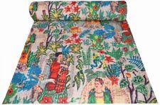 Indian Handmade Cotton Floral Print Kantha Quilt Bedspread Blanket Throw Gudri