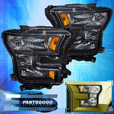 Black Headlights For 15-17 Ford F150 F-150 Clear Lens Amber Side Reflectors Lamp