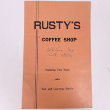 Vintage Rusty's Coffee Dining Shop Ft. Fine Foods Menu 11""