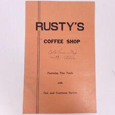 "Vintage Rusty's Coffee Dining Shop Ft. Fine Foods Menu 11"""