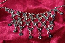 New Silver Diamante Net Necklace on Silver alloy Chain Costume Jewellery