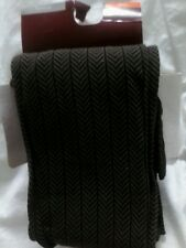 "Brown Herringbone Opaque Tights NWT  L Tall 5'5"" 5'11"" 160 195 lbs ITALY"