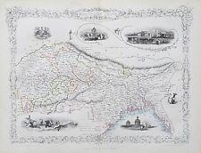 c1854 NORTHERN INDIA Genuine Antique Map by Rapkin FREE WORLDWIDE P&P