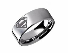 DC Comics SUPERMAN SYMBOL Logo Stainless Steel BAND RING - Men's Size 10