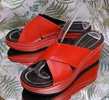 DONALD J PLINER RED LEATHER OPEN TOE SANDALS DRESS HEELS SHOES WOMENS SZ 7.5 M