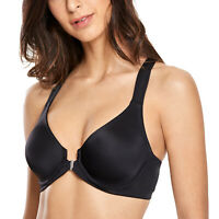 Women's Underwire Support Unlined Front Close Racerback Plunge Bra
