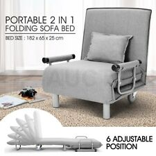 Portable 2 In 1 Folding Sofa Bed Adjustable Headrest Camping Bed Grey w/Mattress