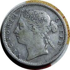 elf Straits Settlements 10 Cents 1889  Victoria   Silver