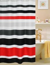 FABRIC SHOWER CURTAIN,Multi-Color  STRIPED RED WHITE & BLACK