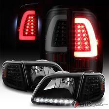 For 97-03 F150 Headlights LED Corner + Black Smoke C-Shape Bar LED Tail Lights