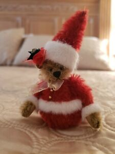 """VINTAGE DEB CANHAM """"SAINT NICK ROLY POLY BEAR"""" RETIRED MOHAIR LIMITED EDITION"""