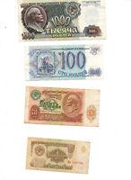 4 Billets URSS 1 10 100 1000 roubles