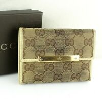 Auth GUCCI GG Pattern Canvas Leather Metal Bar Trifold Wallet Purse Beige w/Box