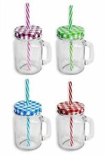 RSW Mason Jar With Straw & Lid Choice of 4 Colours - Seperately