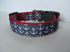 Handmade Adjustable Dog Collar. Strong and Made with Love. Red/White & Blue