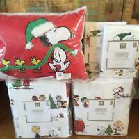 Pottery Barn Peanuts Full/Queen Duvet 2 Shams Queen Sheet Set Pillow Snoopy NWT