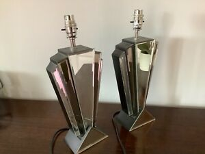 Pair of ART DECO STYLE BEVELLED MIRROR Table / Bedside Lamps