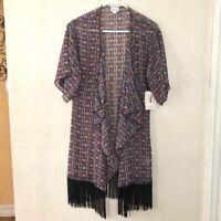 LuLaRoe Red Squares Monroe Kimono with Black Fringe Size Small NWT