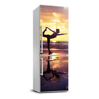 Magnet Sticker Refrigerator removable Peel & Stick People Yoga on the beach