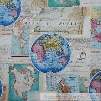Boneful tela fq algodn acolchado azul marrn plata mapa del viejo boneful fabric fq cotton quilt brown old world map blue nautical globe america l gumiabroncs Gallery