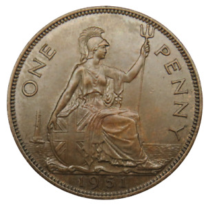 1951 King George VI One Penny Coin Scarce Date - Great Britain