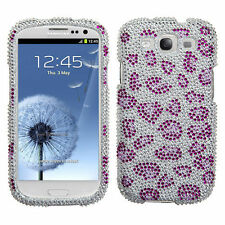 Samsung Galaxy S III 3 Crystal Diamond BLING Case Phone Cover Purple Cheetah