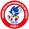 48 Personalised SONIC THE HEDGEHOG Party Bag Stickers Cone Labels 40mm
