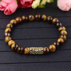 Men's Yellow Tiger Eye Agate Stone & Gold Micro Pave CZ Crown Beaded Bracelets