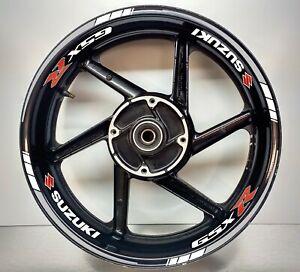SUZUKI GSXR Grey & White Reflective wheel Rim Sticker 025/045