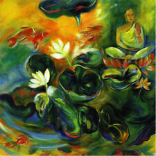 GOLDEN LILY AND BUDDHA FLOWER PAINTING  FINE ART PRINT
