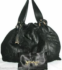 NEW JENRIGO BLACK SNAKE LEATHER LARGE TOTE HAND BAG-MADE IN ITALY+DUST BAG