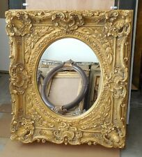 "Louis XV Wood/Resin ""33x37"" Ornate Rectangle/Oval Framed Wall Mirror"