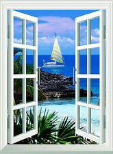 Window Scene Beach and Boat  Wall Art Sticker Free Postage