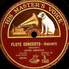 JOHN AMADIO -FLUTE- Mozart: Flute Concerto   Andante & Finale    78rpm   G3716