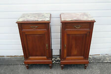 French Early 1900s Marble Top Tall Pair of Nightstands Side End Tables 1424