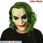 Joker Mask Cosplay Horror Scary Clown Mask With Green Hair Halloween Batman