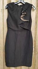 HANII Y Desiger Black Brown Dress Size 42 4, Sleeveless Wool Silk Linen Poly