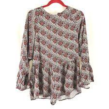 Zara Trafaluc Womens Romper Keyhole Floral Long Bell Sleeve Red Black White S