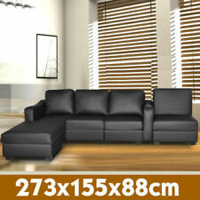 Corner Sofa Lounge Couch  Modular Furniture Home PU Leather Chaise Black