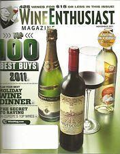 Wine Enthusiast Magazine November 2011 100 Best Buys/Holiday Wine Dinner/Savings