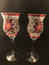 Set of Two (2) Stemmed Crackle Glass HURRICANE CANDLE HOLDERS