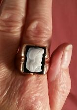 10K Yellow Gold Men's Hand Carved Cameo Ring. FREE SIZING! ! ! ! !