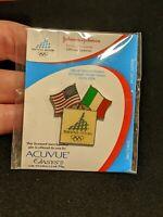 2006 Olympic Torino Pin Flag Of USA And Italy