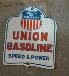 """Porcelain Union Gasoline Enamel Sign Size 6"""" x 5"""" Inches"""