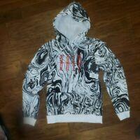 Brooklyn Cloth White & Black DRIP MARBLE PRINT MEN'S HOODIE Size M NWT