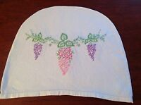 VINTAGE HAND EMBROIDERED Off WHITE LINEN TEA COSY COVER
